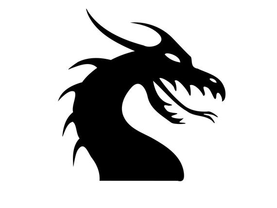 graphic black and white library Svg silhouette dragons dxf. Dragon clipart