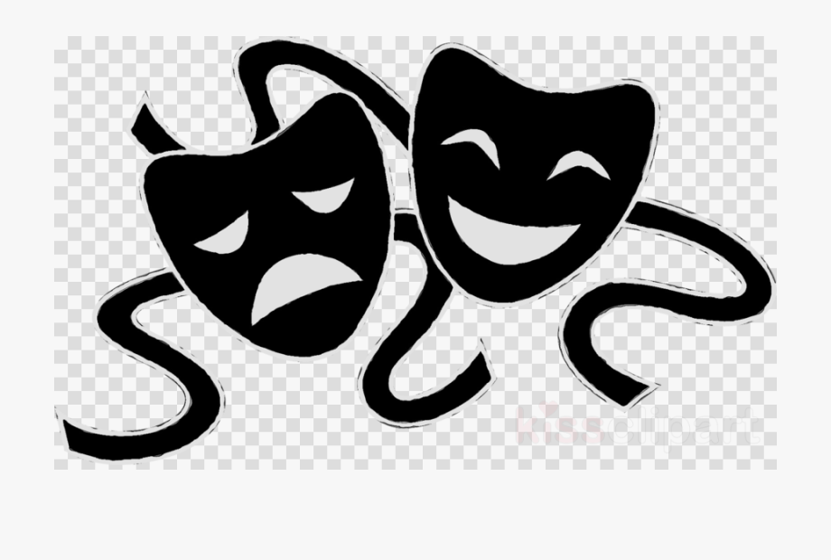 banner transparent Theatre theater mask png. Drama clipart.