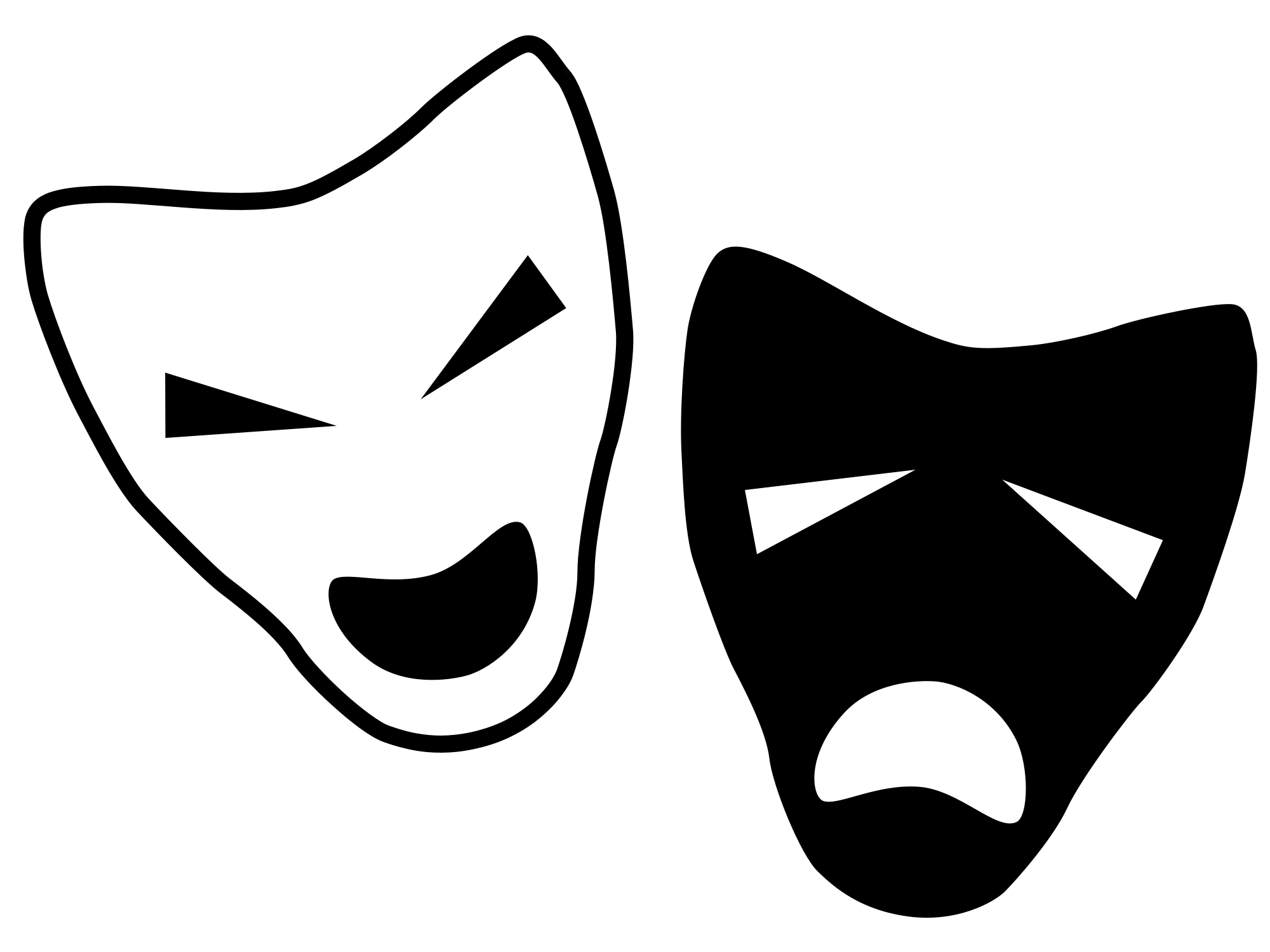 image transparent stock Theatre drama clip art. Mask clipart black and white
