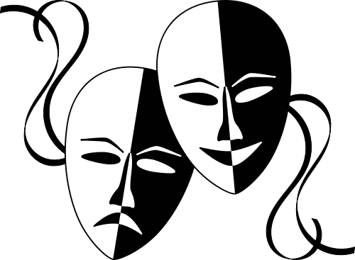 freeuse library Tragedy and Comedy Masks still represent Drama and Theatre