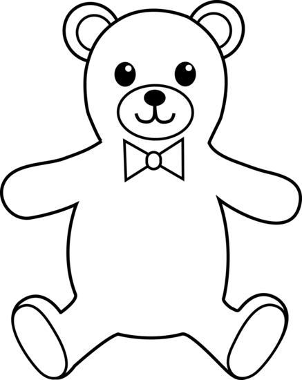 banner library stock Teddy outline colouring for. Baby bear clipart black and white