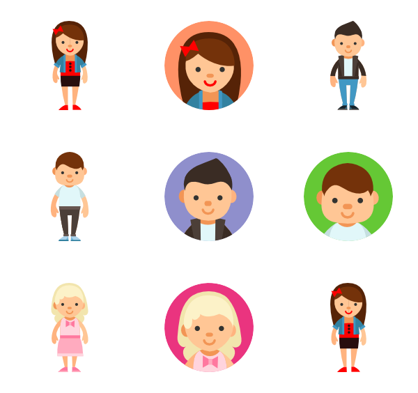 image library stock Vector avatar people.  children icon packs