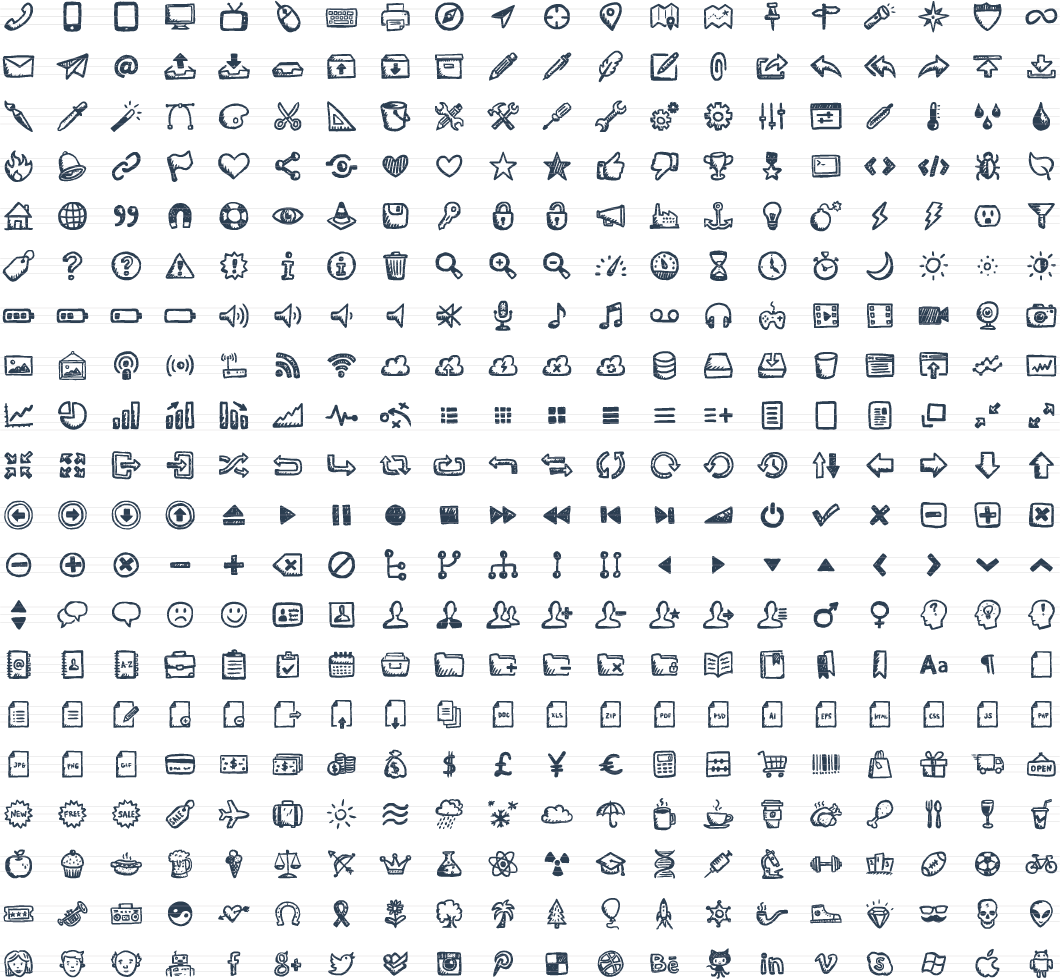 graphic free library Jolly icons drawn handdrawn. Vector calculation hand written