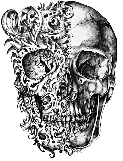 picture Cool Skull Tattoo Design Drawing PNG on