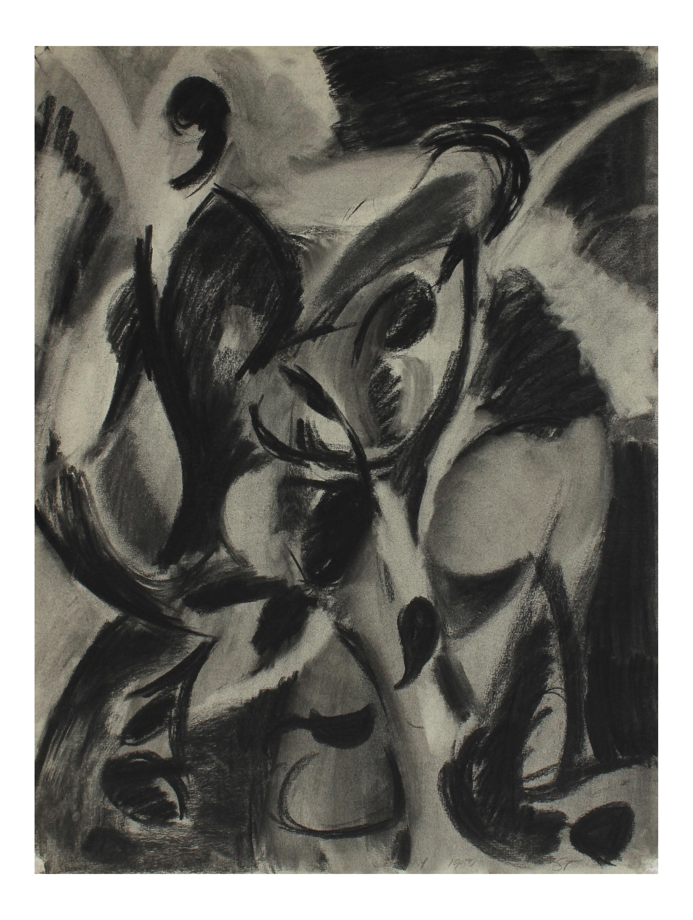 graphic free Exceptional monochromatic figures in. Drawing charcoal abstract