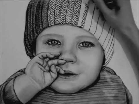 clip black and white library How to draw a. Drawing charcoal baby