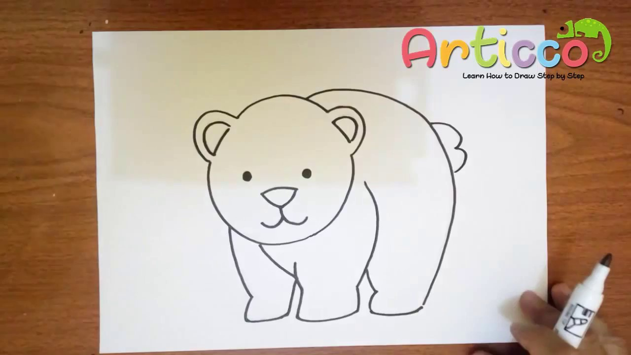 vector free download How to Cute Draw a Bear Step by Step for Beginner