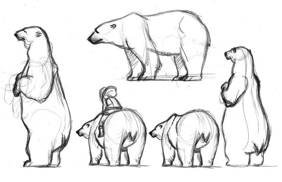 jpg black and white library Polar bear and sketches. Drawing bears reference