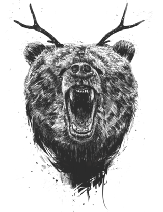 clipart black and white stock Camiseta Angry bear with antlers