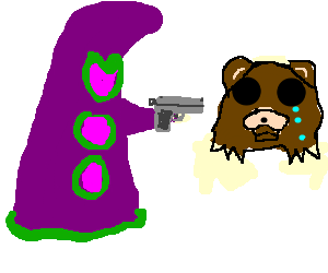 vector black and white library Purple Tentacle holding gun in sad bears face drawing by NoBuddy