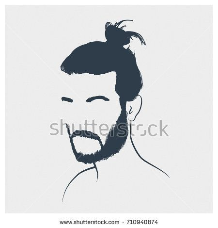clip black and white stock Original portrait of a man with beard and bun