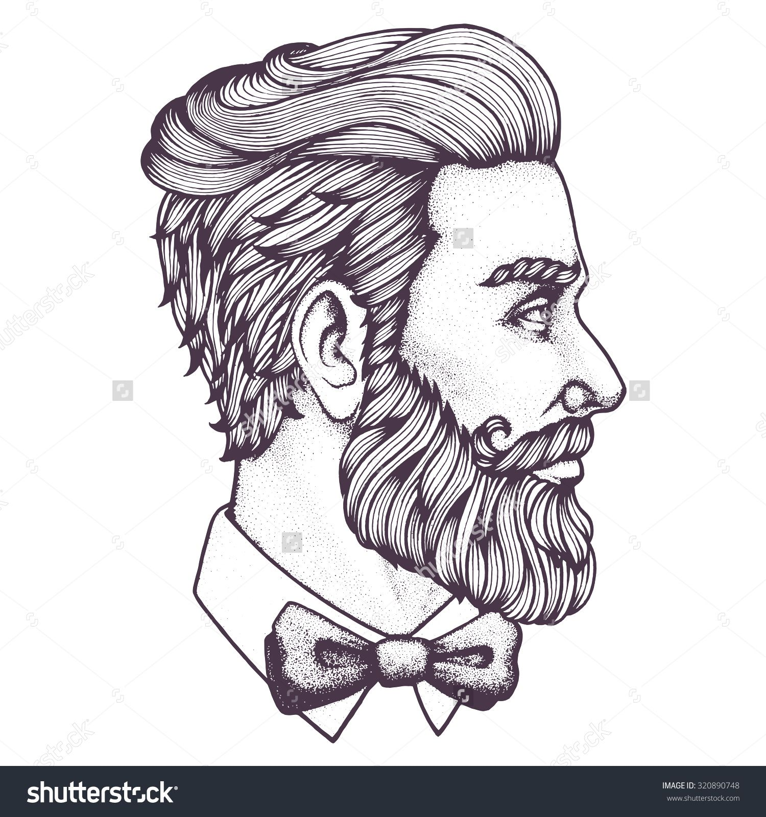 banner royalty free download Hand drawn portrait of bearded man side