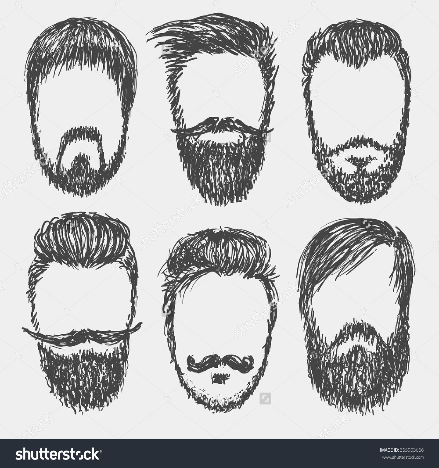 clipart library stock Vector hand drawn hipster beard