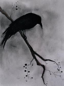 clipart royalty free Original gothic halloween bird. Drawing charcoal raven
