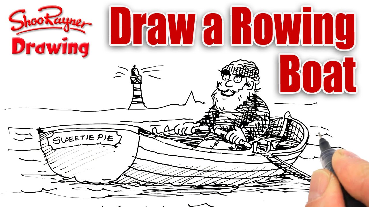 banner black and white How to draw a Rowing Boat easily