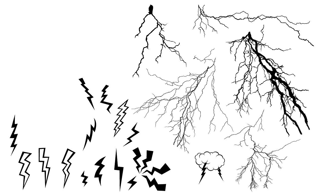 banner freeuse stock Bolt vector thunder. Lightning pack cartoony add