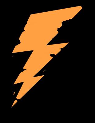 freeuse Orange painted lightning weather. Bolt vector high resolution