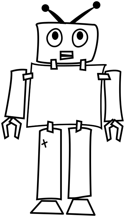 clip art black and white library Image for robot outline clip art