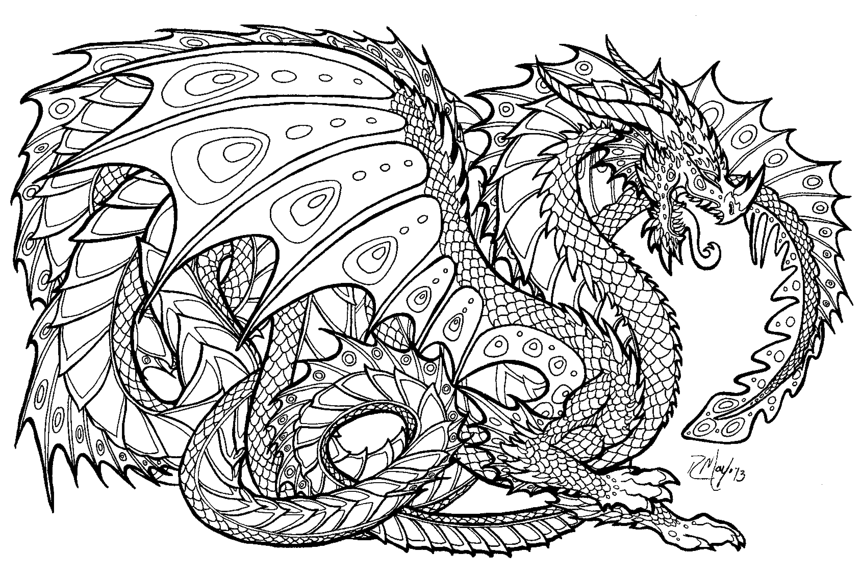 vector library stock Realistic coloring pages for. Drawing printables dragon