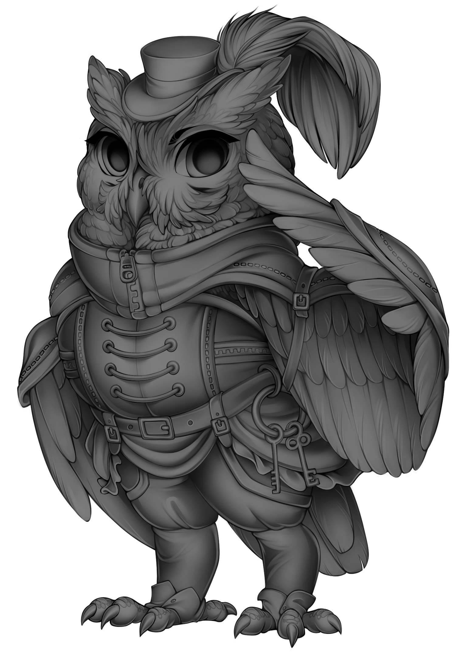 vector black and white Furvilla grayscale owl base. Valkyrie drawing steampunk