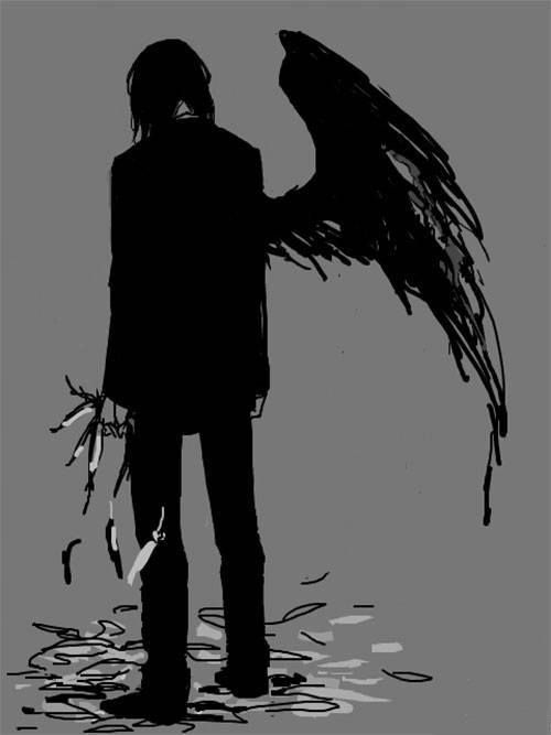 clipart free stock Anime in . Drawing boy fallen angel