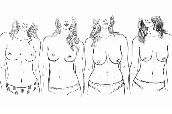 image black and white All about shapes sizes. Drawing breast shape.