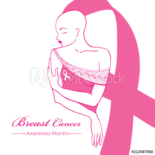 free library Drawing breast vector. Bald woman after chemotherapy.