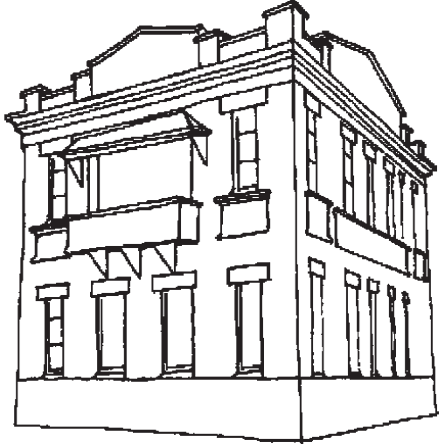 graphic black and white library Bank Building Drawing at GetDrawings
