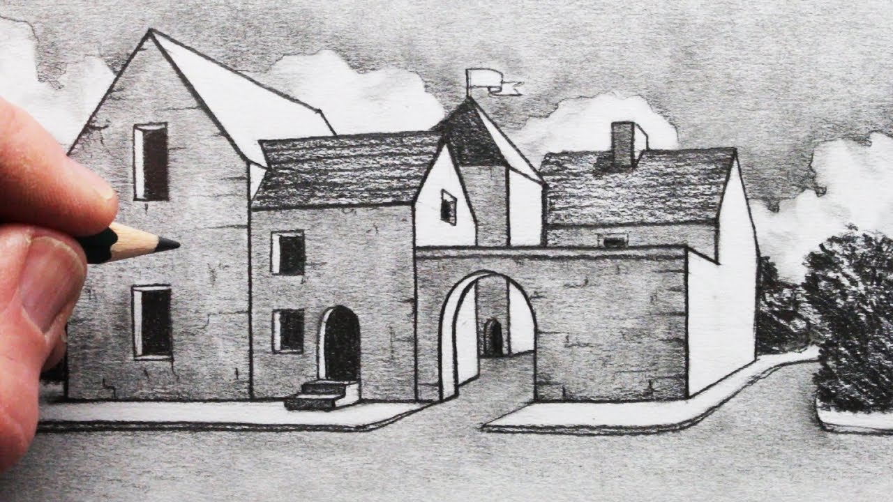 vector royalty free stock How to draw buildings. Drawing perspectives pencil
