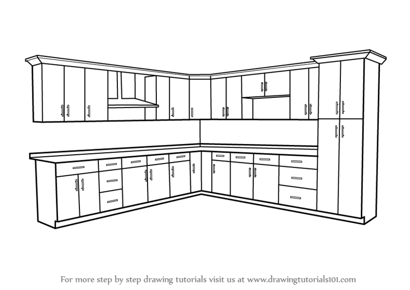 black and white Learn how to draw. Drawing cabinets