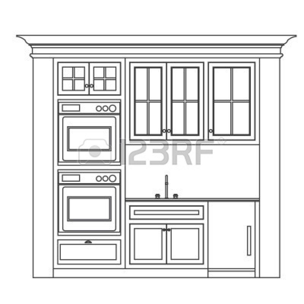 jpg library library Stock vector kitchen in. Drawing cabinets