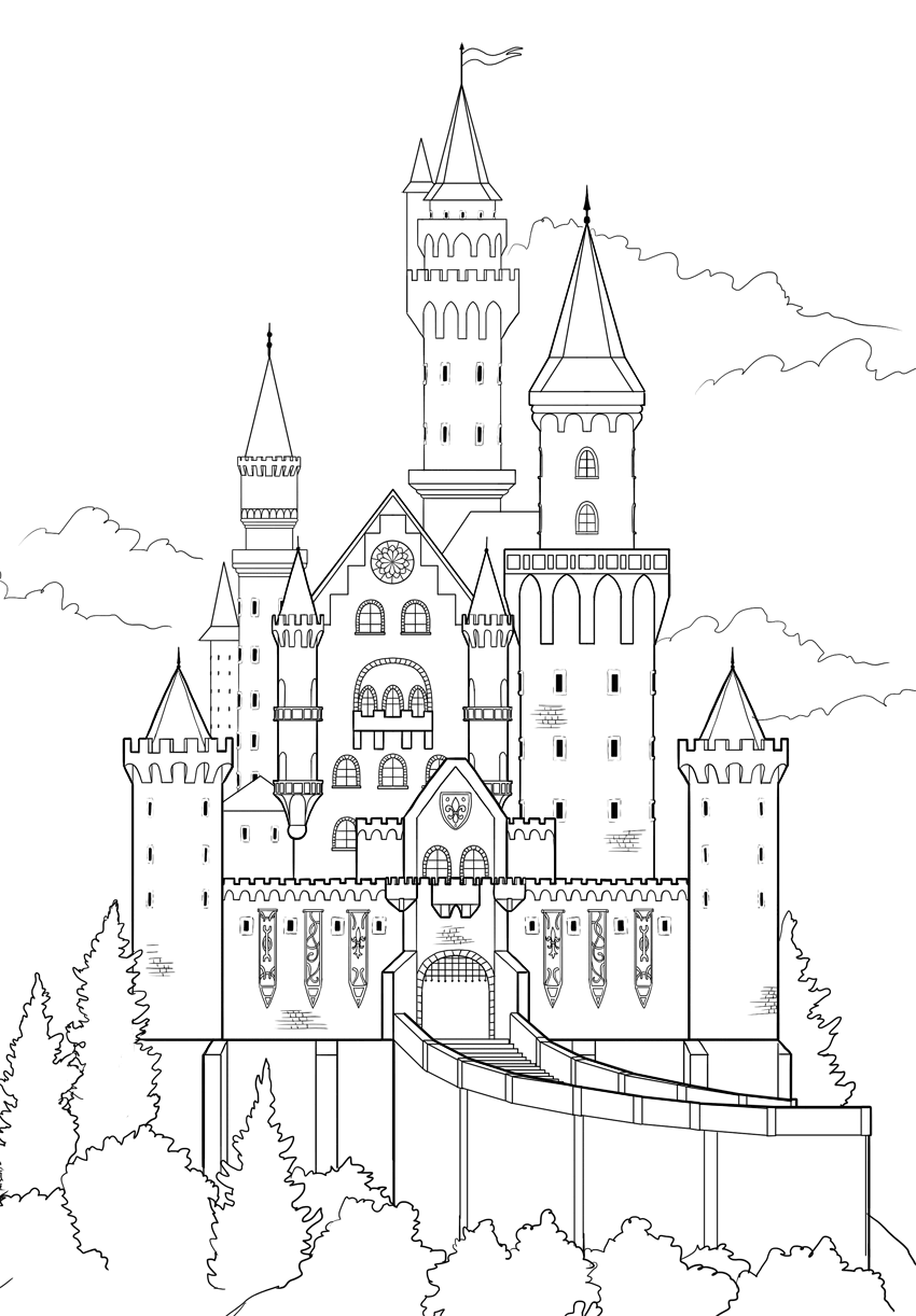 graphic royalty free download How to draw a. Drawing castles
