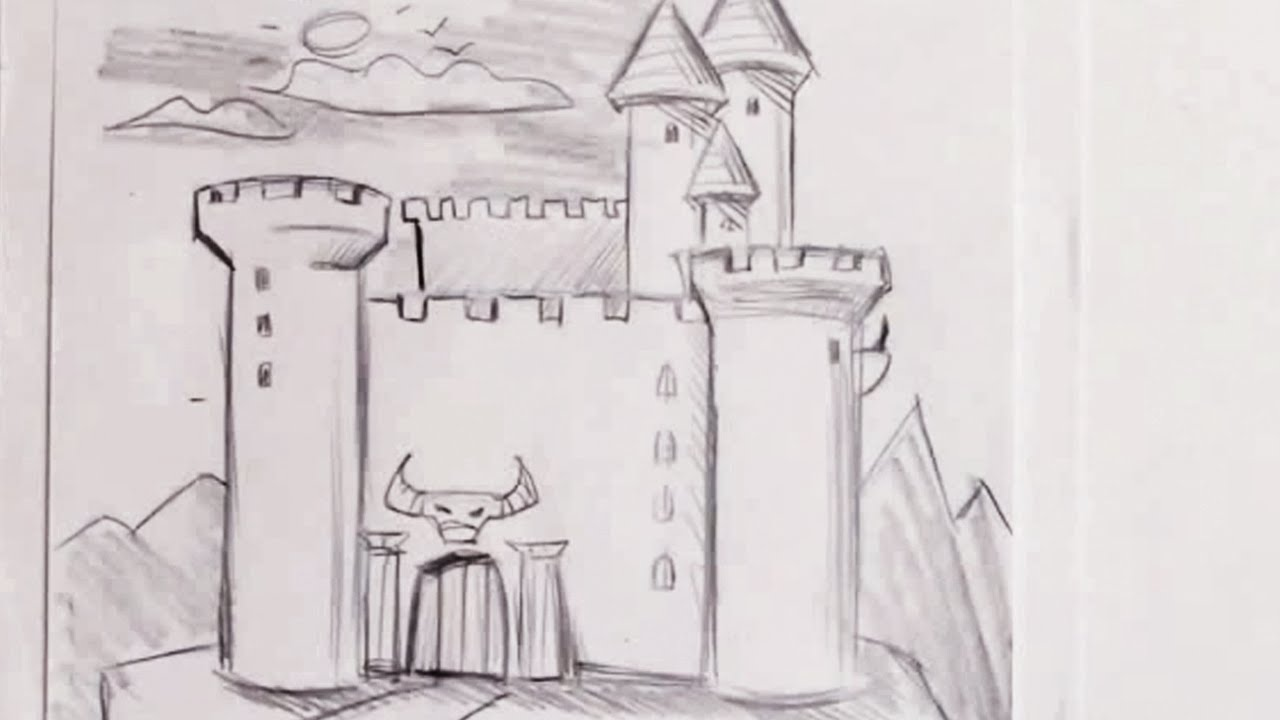 jpg black and white How to Draw a Castle
