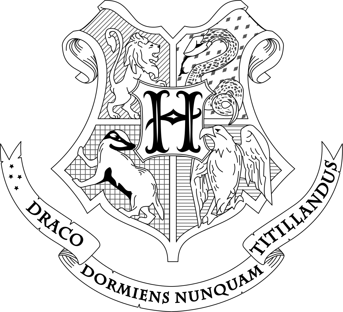 clipart Hogwarts crest coloring page