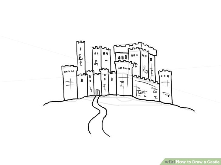 clipart royalty free library drawing castles hill #134215945
