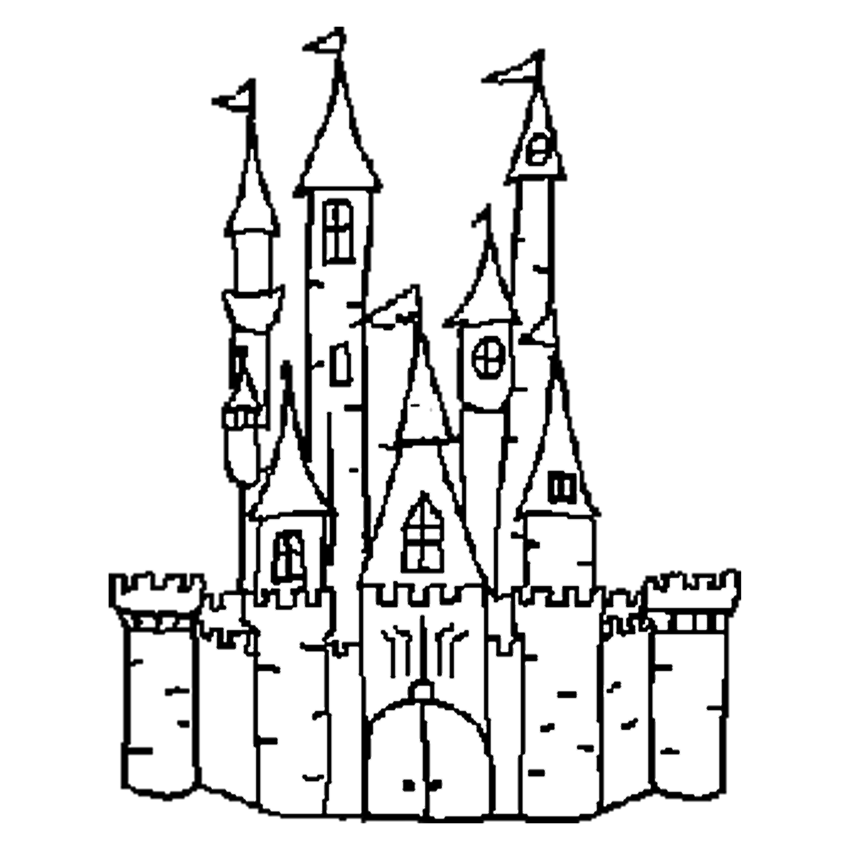 image black and white download Castle Outline Free Download