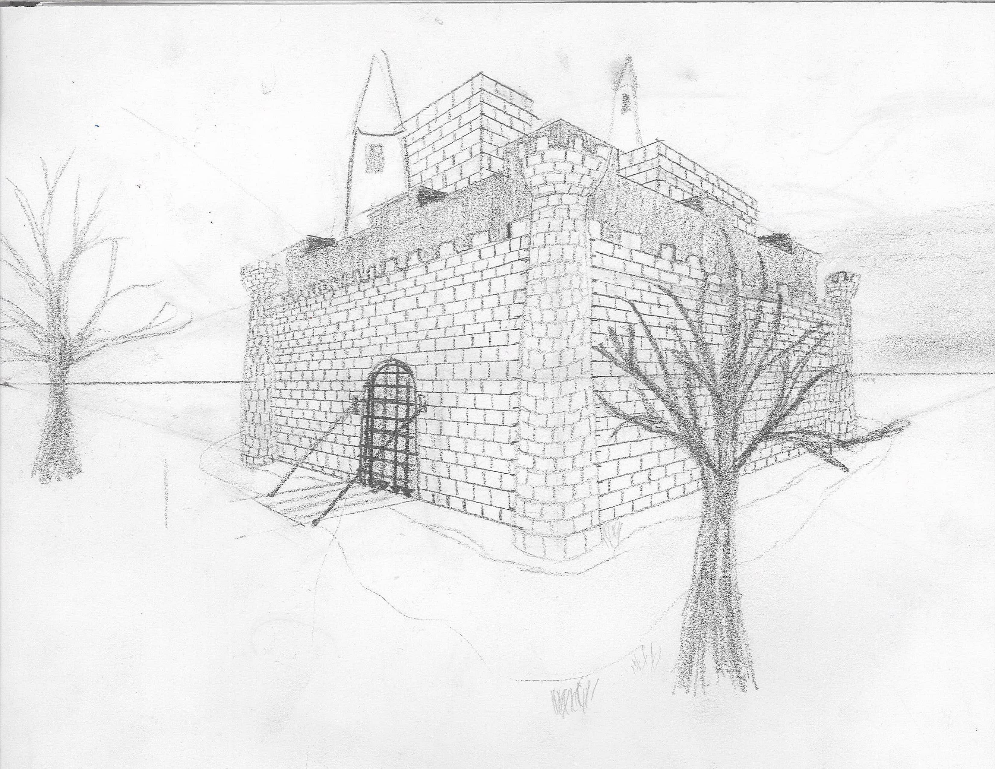 image royalty free library drawing castles perspective #134216802