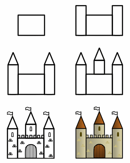 graphic library stock Drawing a cartoon castle