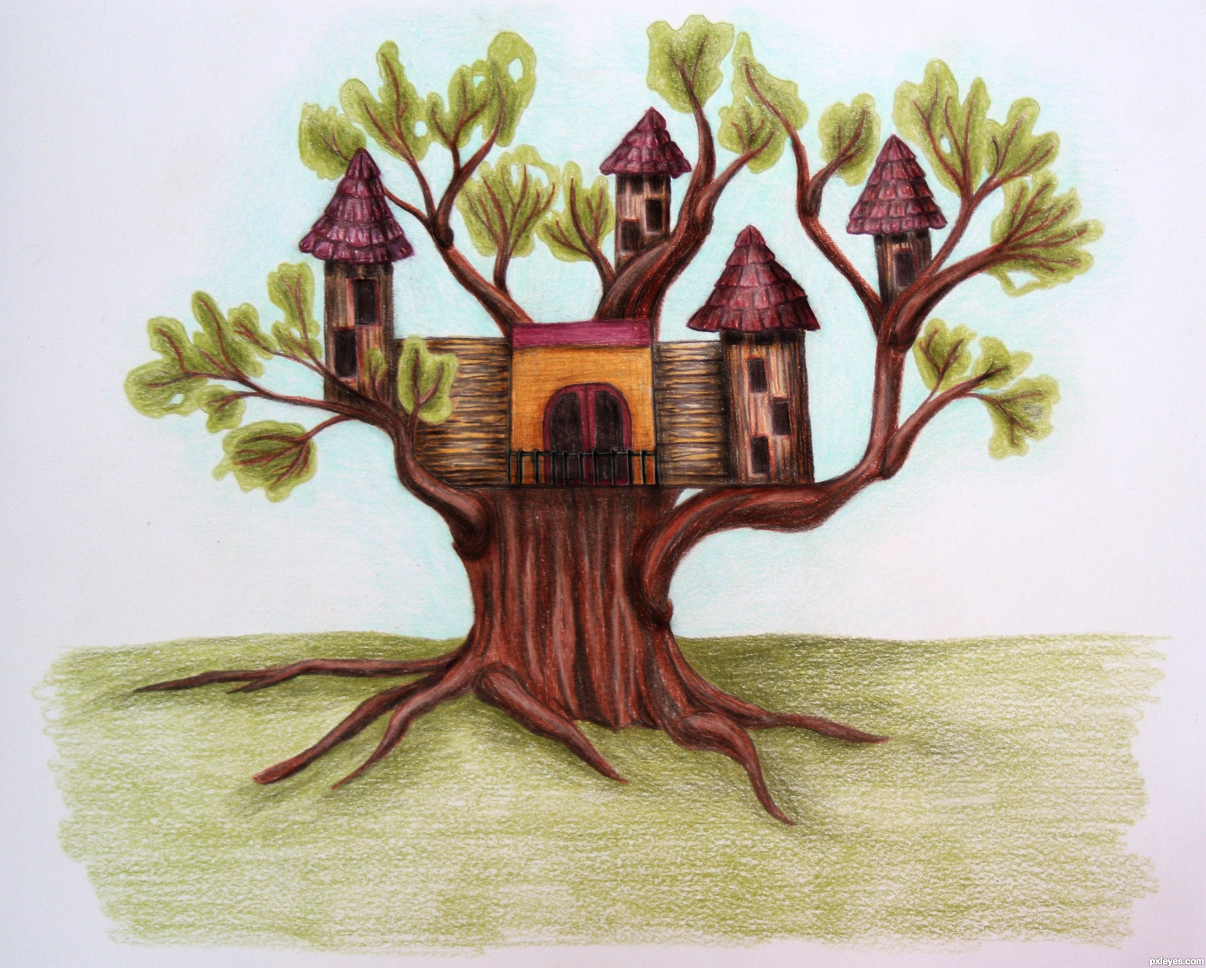 clip art freeuse library Castle picture by artbybambi. Drawing castles tree.