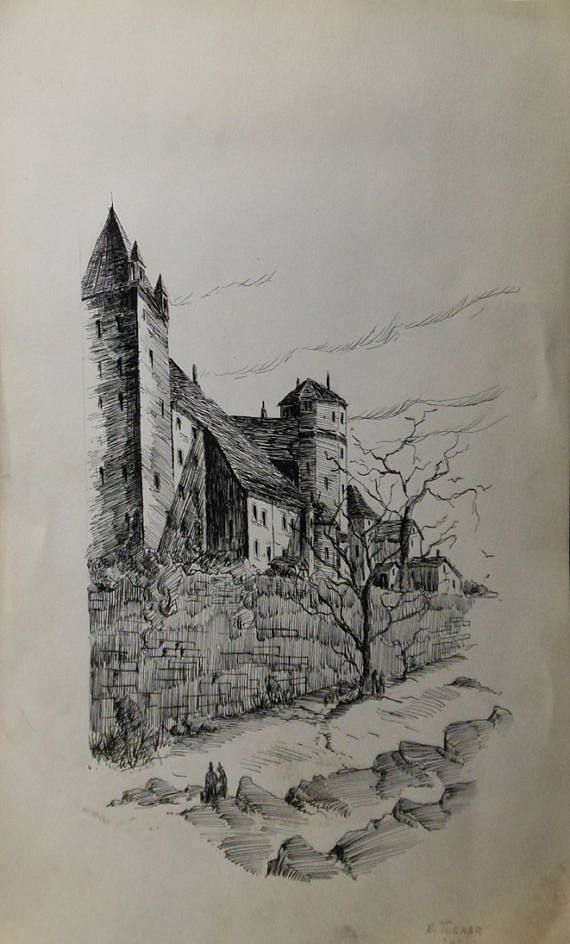 image black and white download Vintage ink of castle. Drawing castles tree.