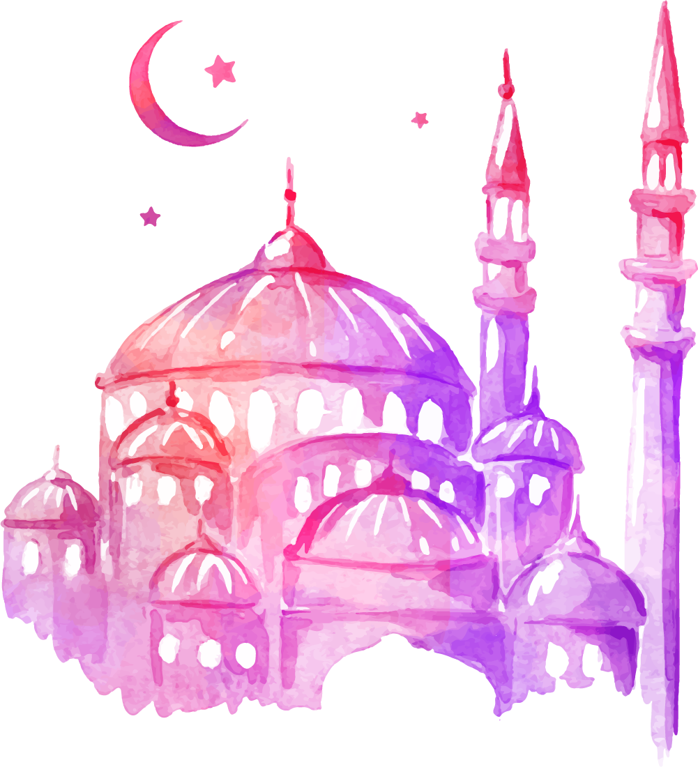 banner stock Ramadan Drawing Mosque Watercolor painting
