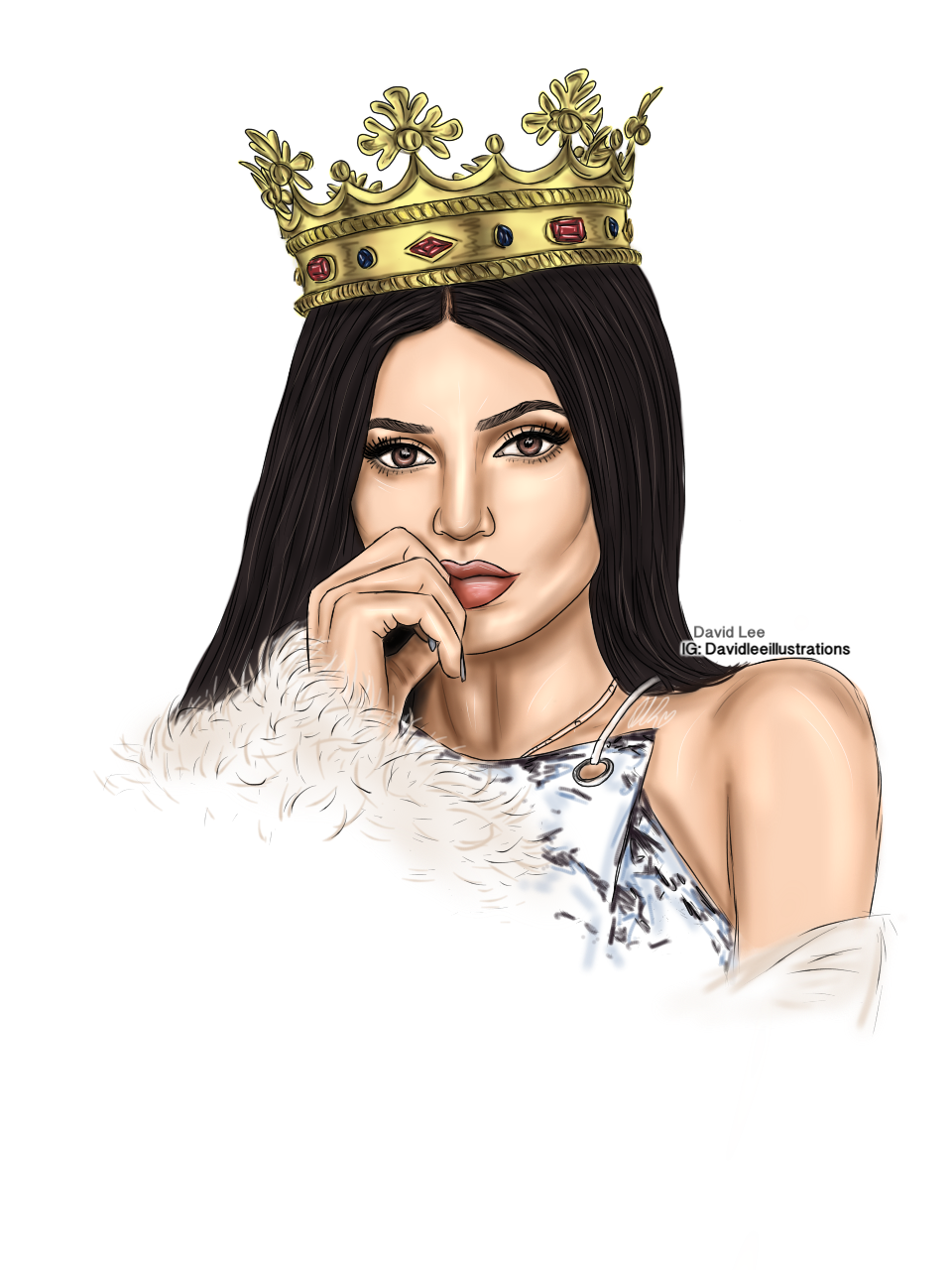 clip freeuse stock Kylie Jenner by David Lee Illustrations