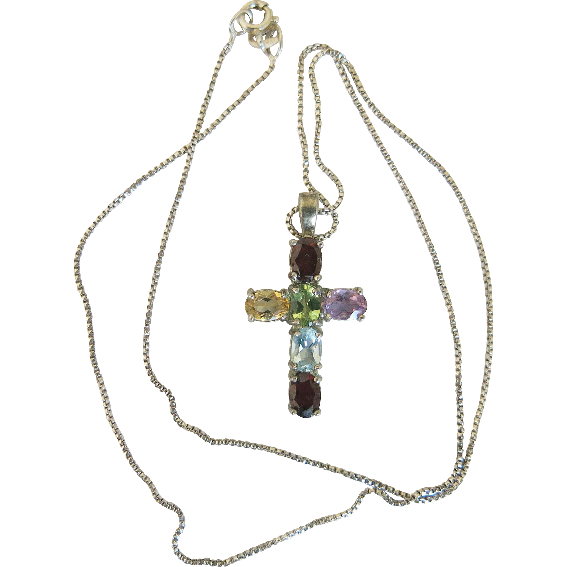 banner royalty free stock Vintage Rainbow Gemstone Silver Religious Cross Necklace Citrine