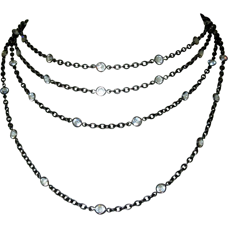 jpg freeuse library Victorian gunmetal crystal chain. Drawing neck necklace
