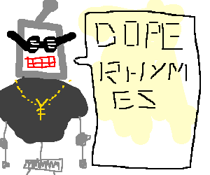 clipart stock a robot rapper wif a gold chain and dope shades drawing by Stu L