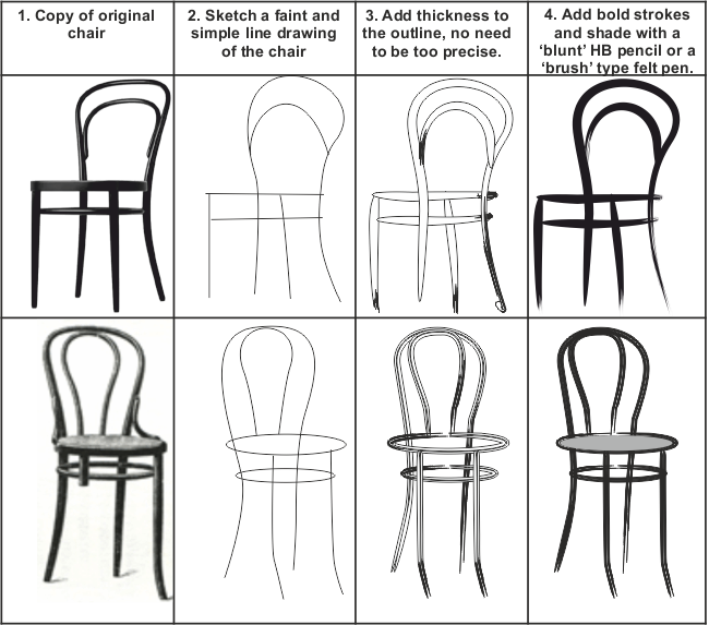 picture royalty free library HOW TO SKETCH A SIMPLE BENTWOOD CHAIR