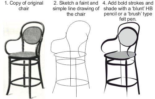 clip free HOW TO SKETCH A SIMPLE BENTWOOD CHAIR
