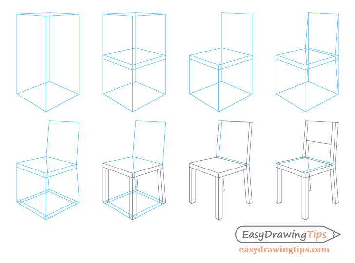 png free stock How to Draw a Chair in Perspective Step by Step