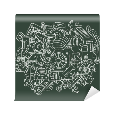 image freeuse download Technical drawing with chalk Wall Mural