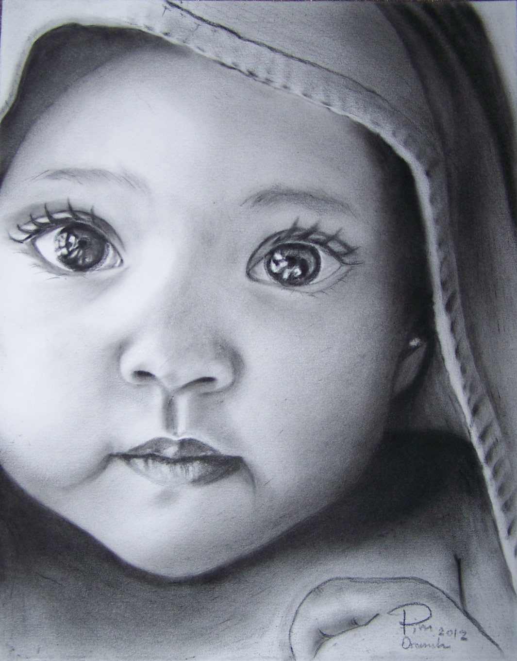 image royalty free library Original x oranootpim . Drawing charcoal baby